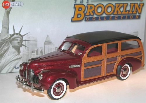 Brooklin Models, 1940 Buick Model 59 Station Wagon, Woodie, dunkelrot, 1/43