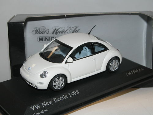 Minichamps, 1998 VW New Beetle, Cool-White, 1/43