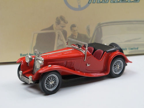 Lansdowne Models, 1938 AC 16/80 Sports Roadster Top down, rot, 1/43