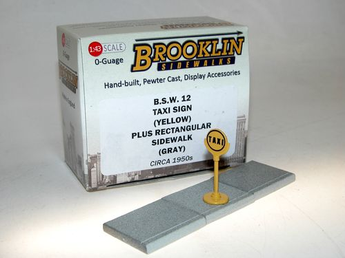 Brooklin Sidewalks, US Taxi Sign + Sidewalk, Zubehör, Dioramen 1/43