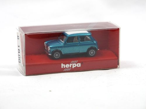 Herpa 1990 Mini Cooper closed sunroof blue metallic 1/87