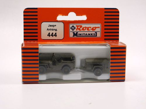 Roco Minitanks Willys MB Jeep mit Anhänger US Army 1/87