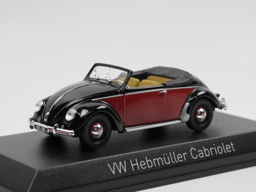 norev 1949 vw k fer hebm ller cabriolet schwarz rot 1 43. Black Bedroom Furniture Sets. Home Design Ideas