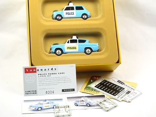 Vanguards Police Panda Cars Set Austin Mini + Ford Anglia 1/43