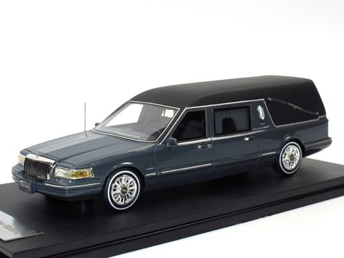 GLM 1997 Lincoln Towncar Hearse grey metallic 1/43