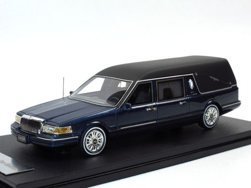 GLM 1997 Lincoln Towncar Hearse blau metallic 1/43